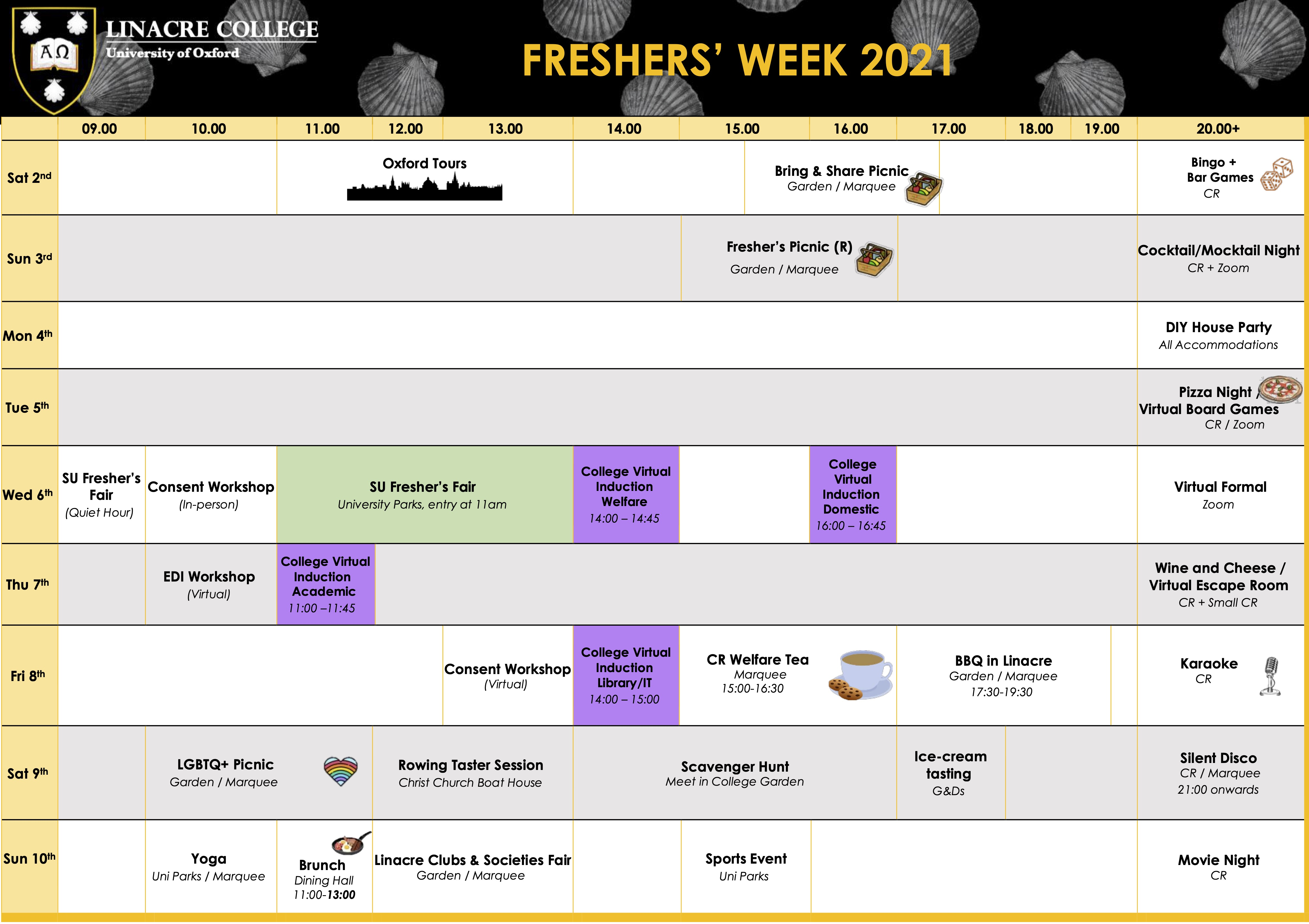 A table with a list of events and activities during the Freshers' Week. Accessible version is available on CR Events page.