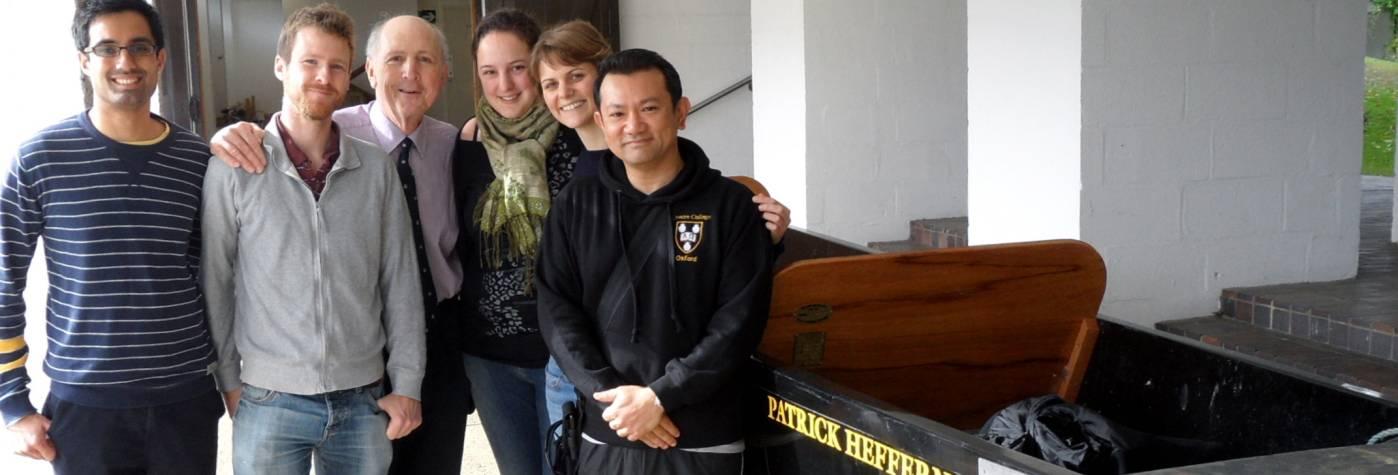 Patrick, students and Patrick Heffernan punt